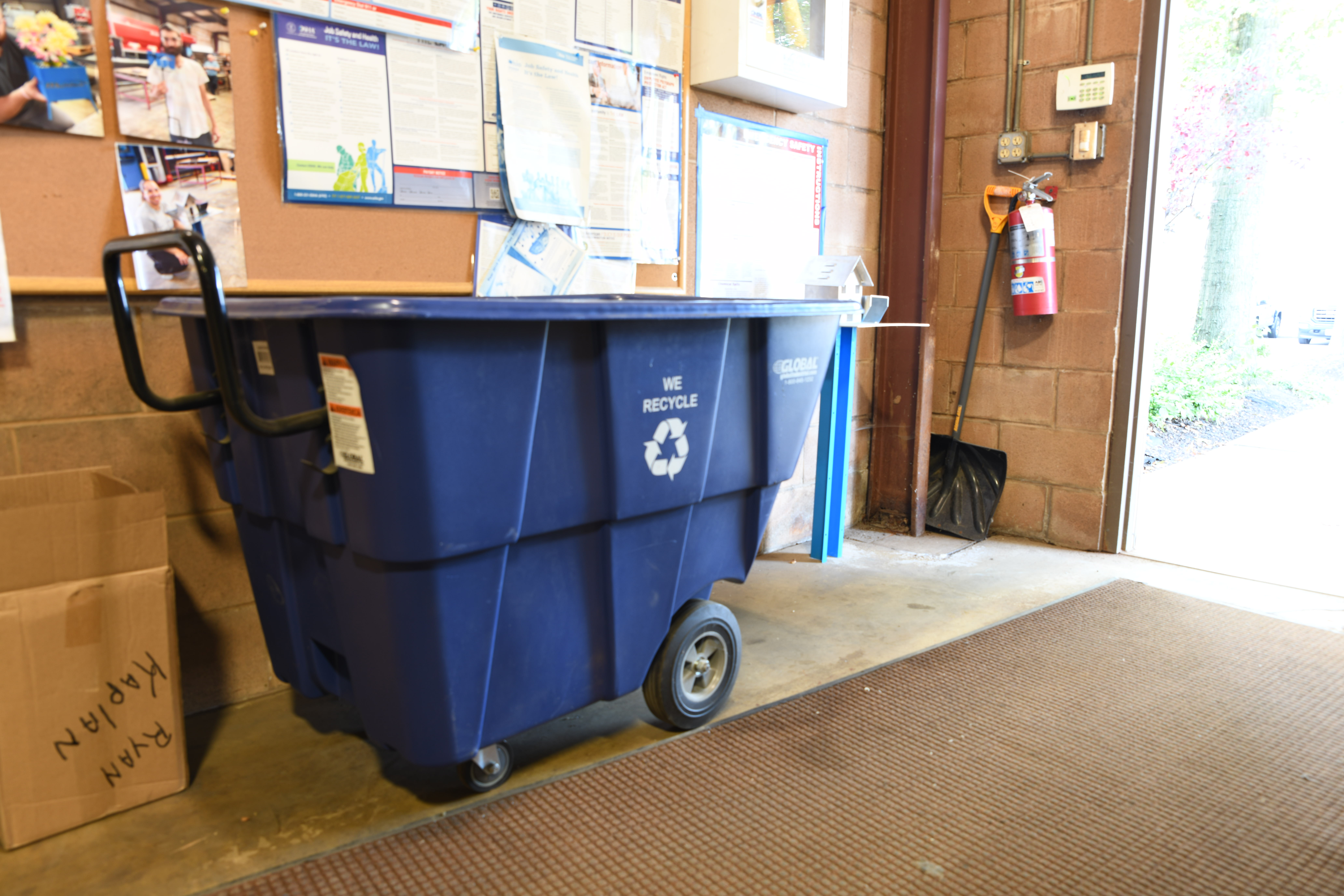We have recycling containers like this in all of our processing, shipping and manufacturing facilities to help recycle extra paper, plastic and other materials.